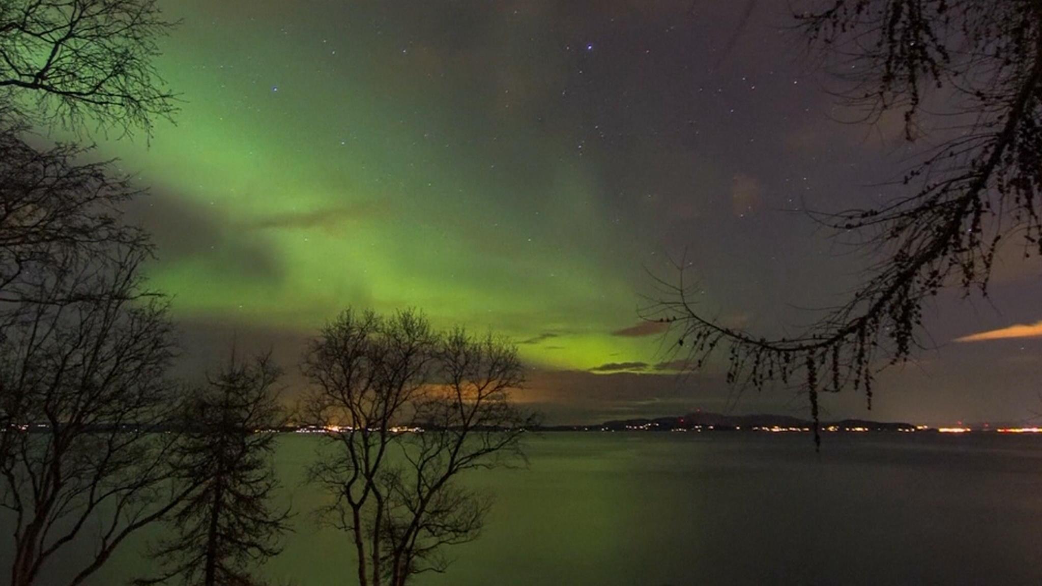Helder noorderlicht boven Trondheim | NOS