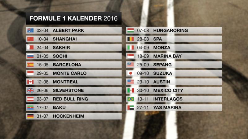 Uitgelekte Formule  Kalender Telt In   Races