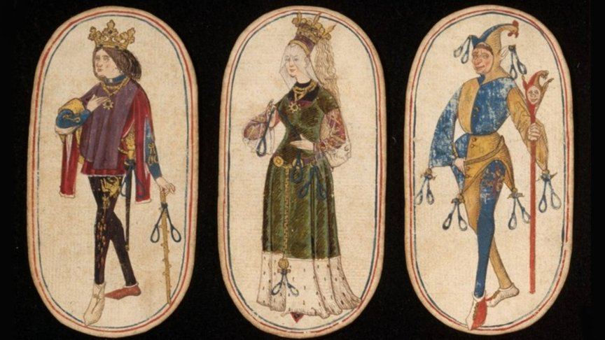 King, queen and knave cards in oldest deck of cards