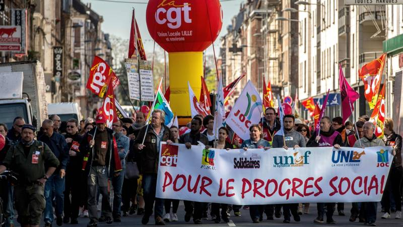 May Day 2016 demonstrators in Lille, France