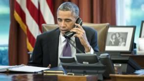 Obama belt met Cameron en Merkel