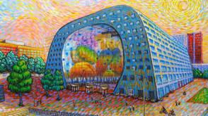 Bekijk details van De Rotterdamse Markthal... zoals Van Gogh hem zou hebben geschilderd