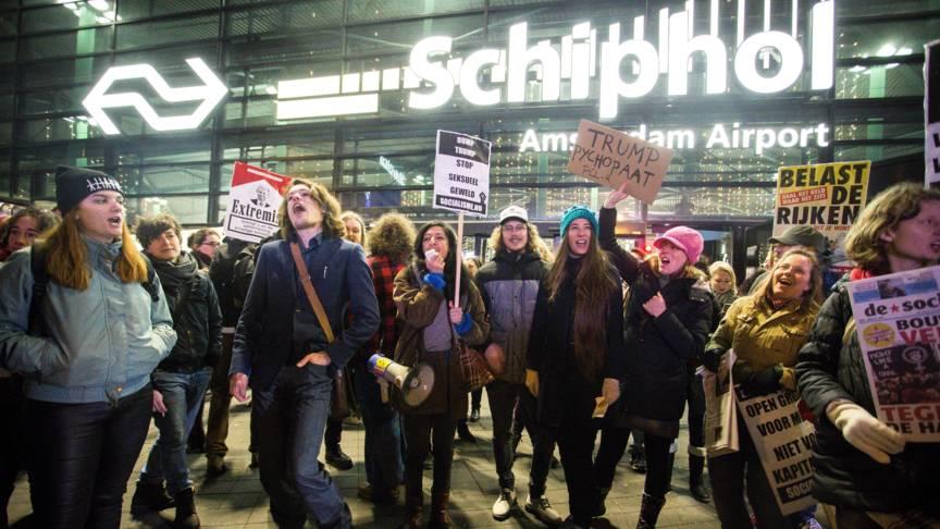 Anti-Trump demonstrators at Schiphol airport, ANP photo
