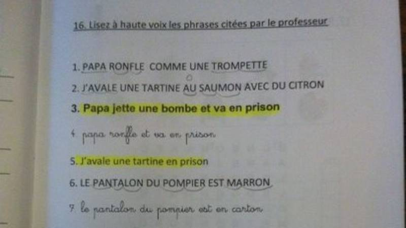 Belgian French language textbook about bombs