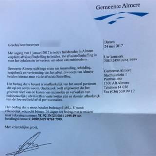 Almere waarschuwt voor brief oplichters