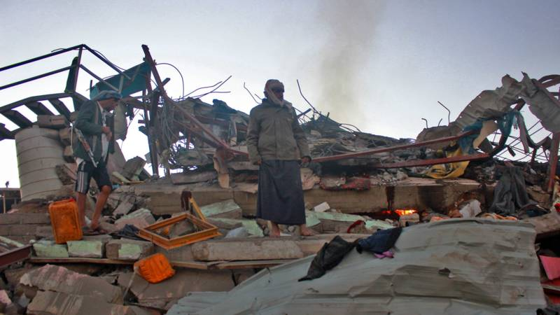 North Yemen homes destroyed today, AFP photo