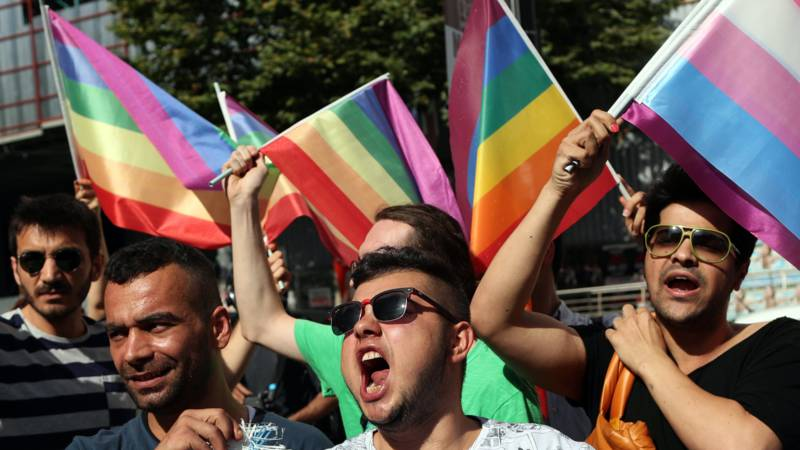 2016 LGBTQ protest in Istanbul, Turkey, against ban on a Transgender Pride the day before. EPA photo