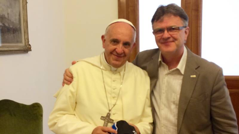 Pope Francis I and child abuse survivor Peter Saunders when he joined papal commission in 2014