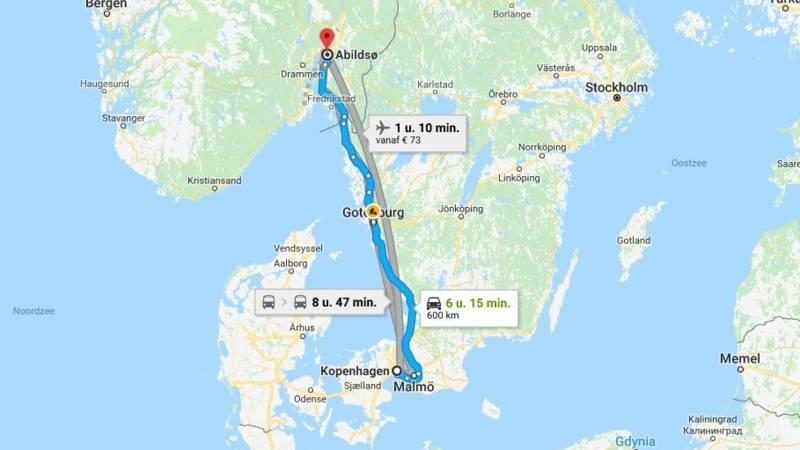 Man neemt taxi van Kopenhagen naar Oslo en weigert te betalen