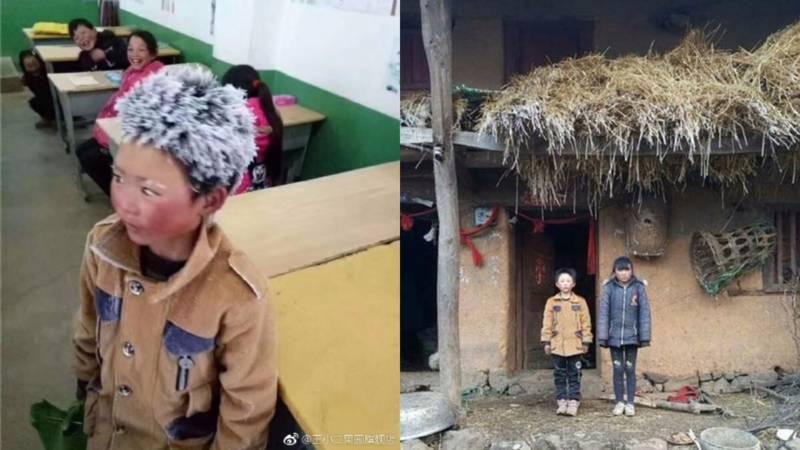 Chinese ijsbloemjongen gaat viral: met min negen lopend naar school