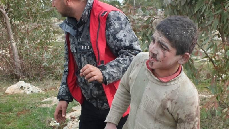 Injured child in Afrin, Syria