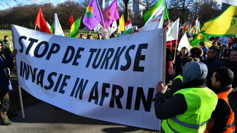 Koerdische demonstratie tegen Erdogan