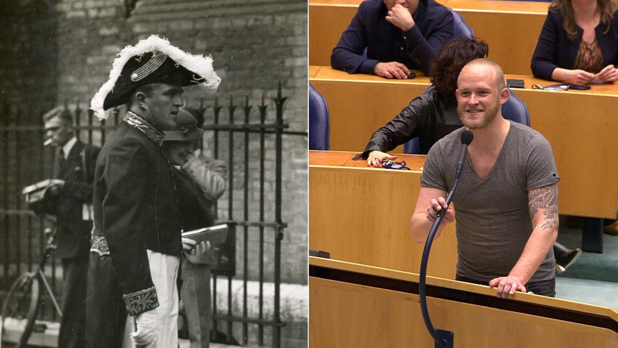 939dfa7f40f283 1 2 Links  minister Steenberghe op Prinsjesdag 1934 (Kamerleden droegen een  soortgelijk kostuum). Rechts  SP-Kamerlid Kwint
