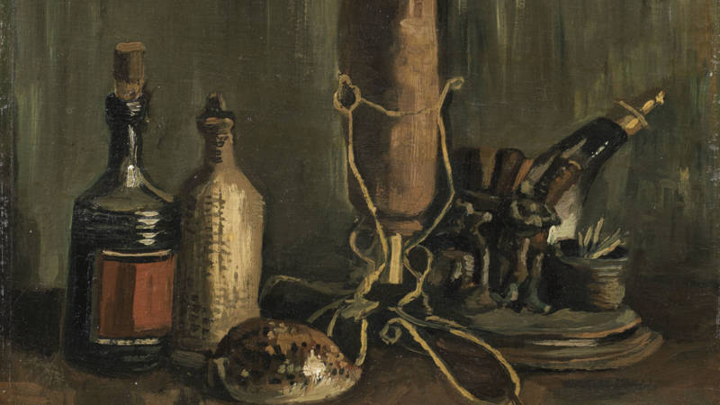 Van Gogh's Still life with bottles and seashell