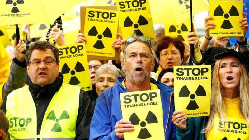 Demonstrators in Aachen, Germany today against nuclear plants, Reuters photo