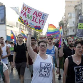 Bekijk details van Tienduizenden Israëliërs de straat op tegen achterstelling homo's
