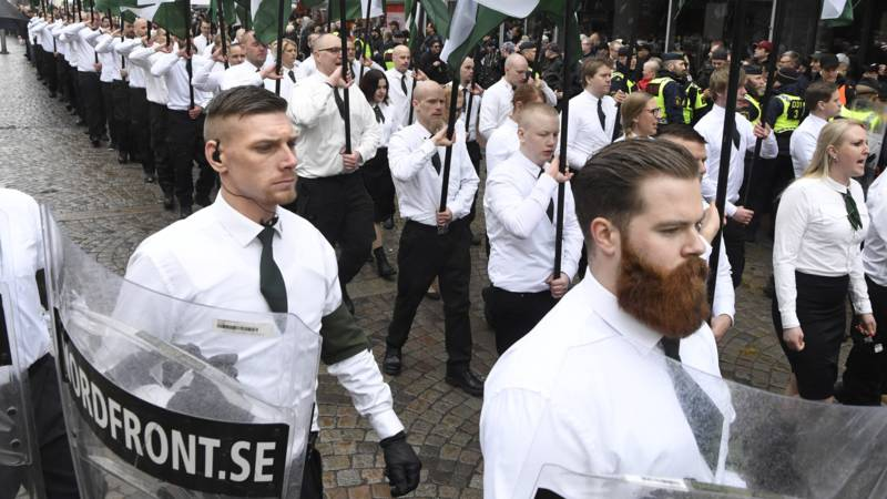Swedish NRM nazis march this year in Ludvika, AFP photo