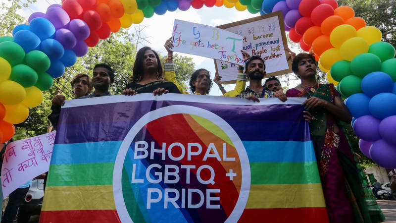 Pride demonstrators in Bhopal, India