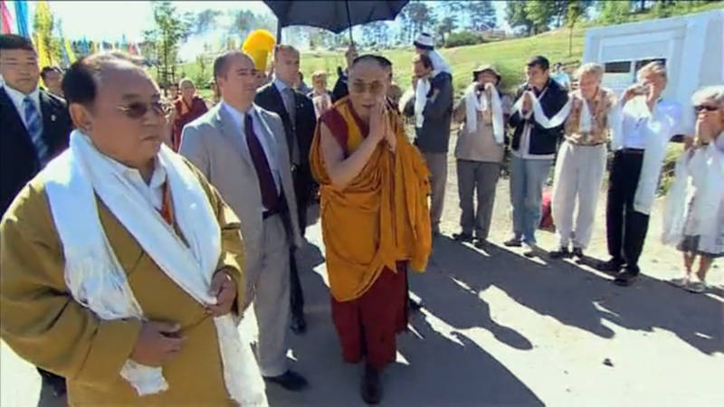 The controversial Buddhist cleric Sogyal Rinpoche, far left foreground, and the Dalai Lama, third from left, in France in 2008