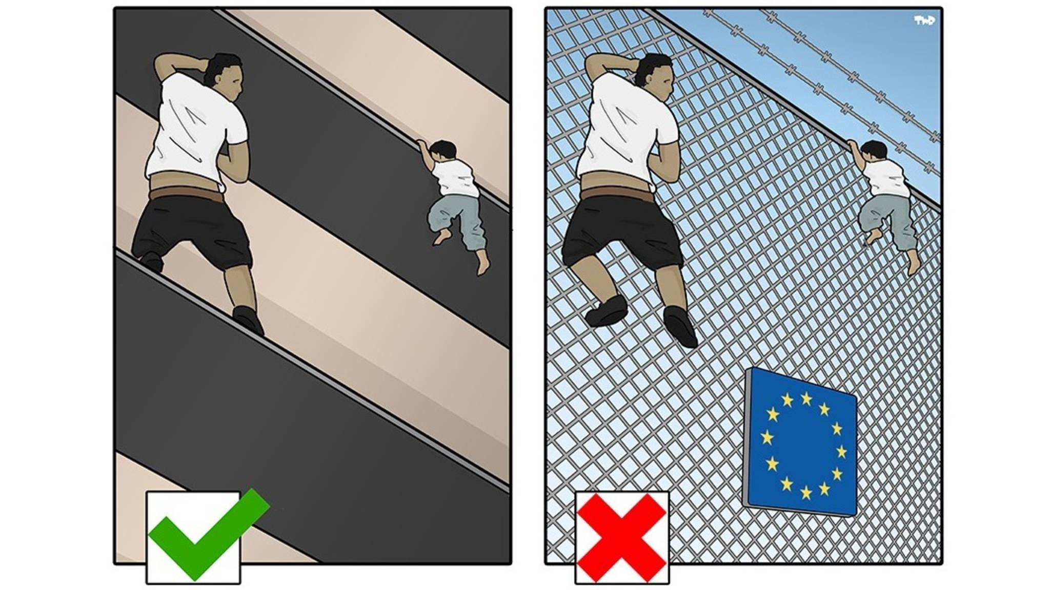 'Good migrant, bad migrant?' Cartoon by Tjeerd Royaards
