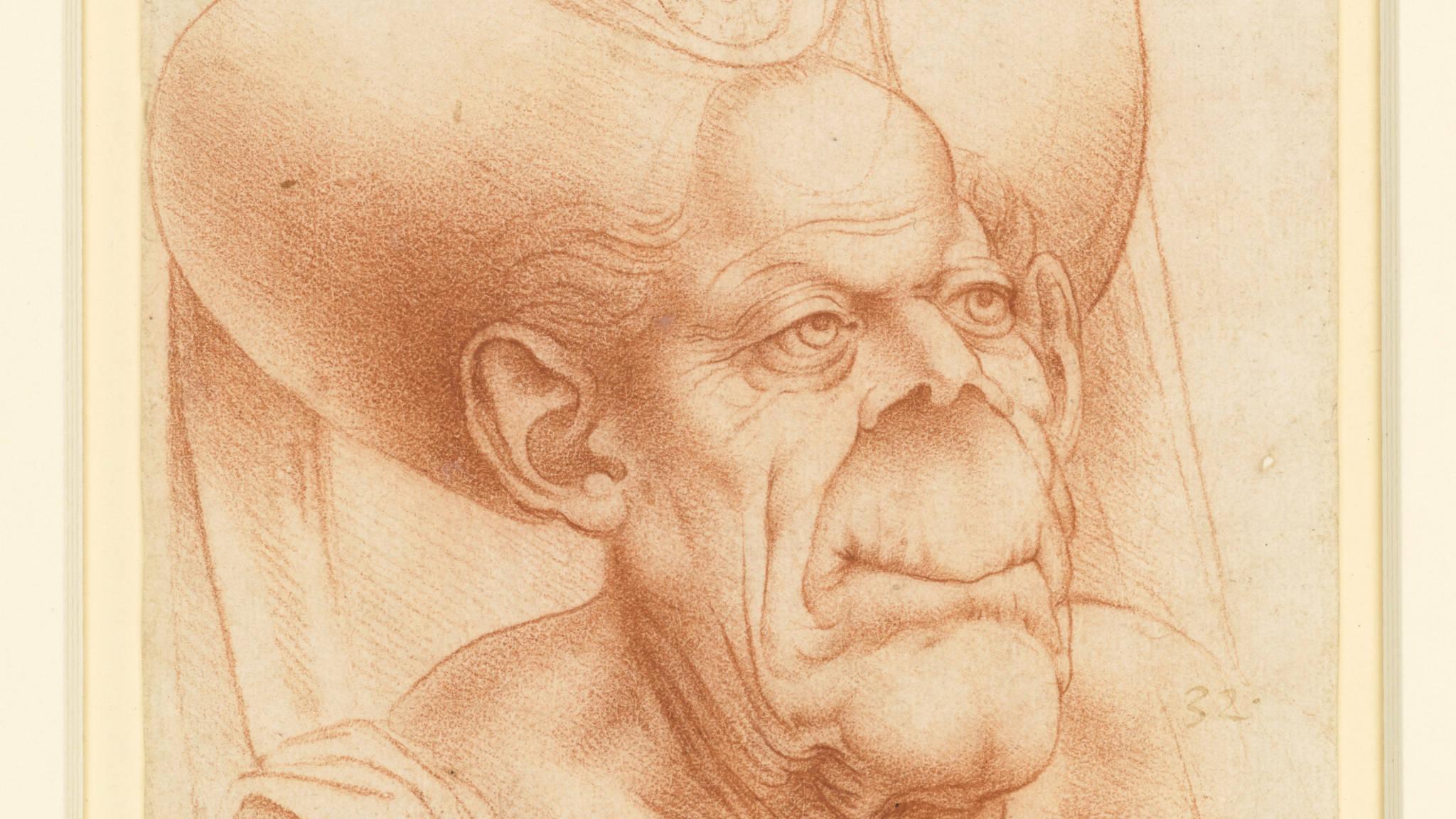 Caricature by Leonardo da Vinci. Royal Collection Trust / © Her Majesty Queen Elizabeth II 2018