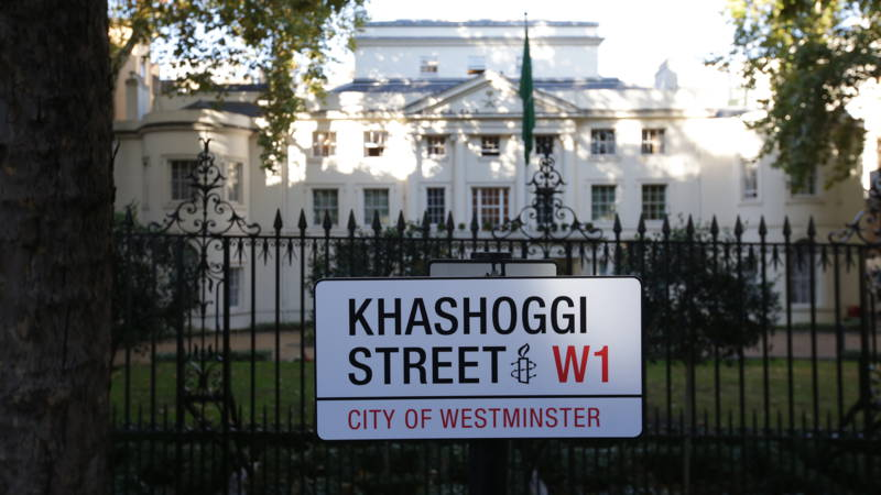 Khashoggi street sign at Saudi embassy, London, England, AFP photo