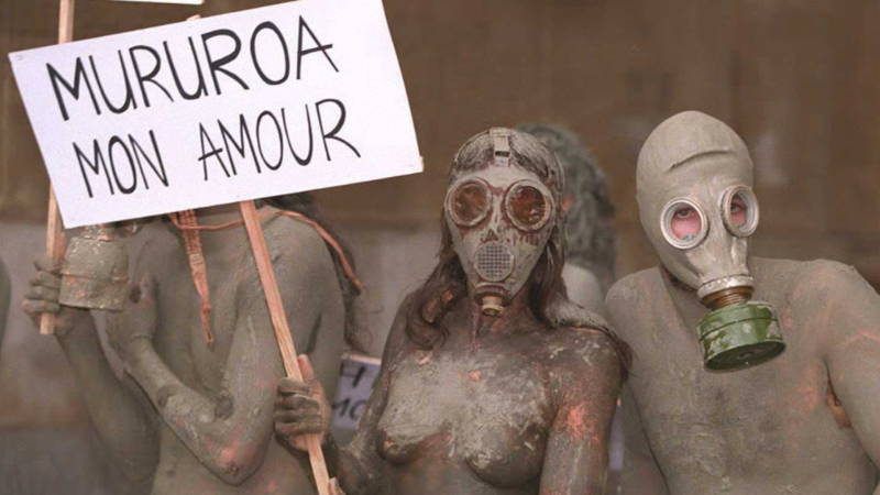 Demonstrators against a French nuclear bomb test on Mururoa, in september 1995. AFP photo