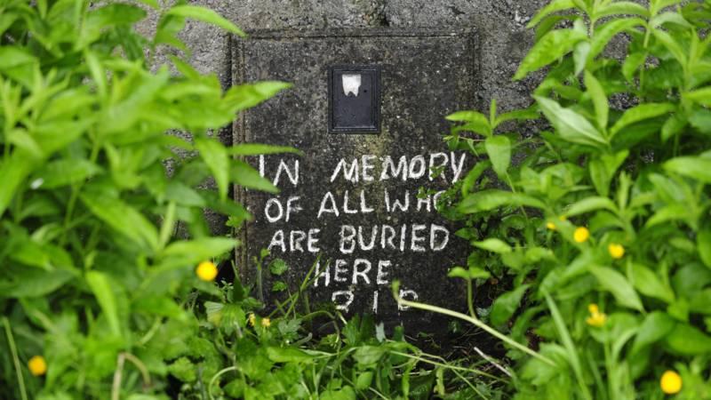 Provisional gravestone in Tuam, Ireland, for possibly 796 mass grave children