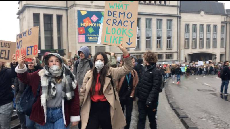 17 January 2019 Brussels striking students demonstration, photo NOS/Bijou van der Borst