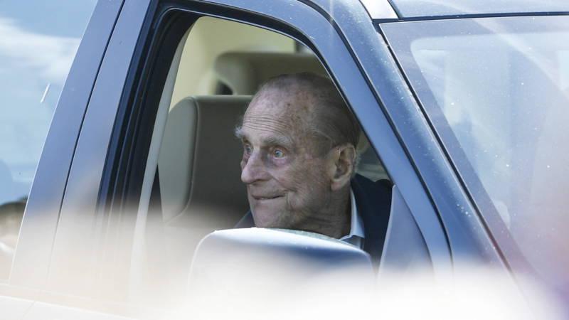 British Prince Philip in a car, EPA photo