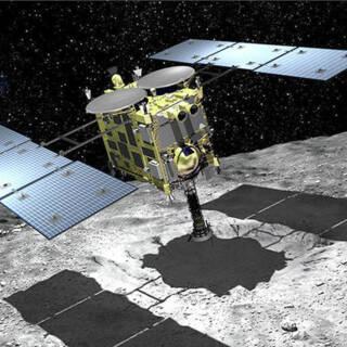 Bekijk details van Japanse sonde daalt af naar planetoïde en pikt wat stof op