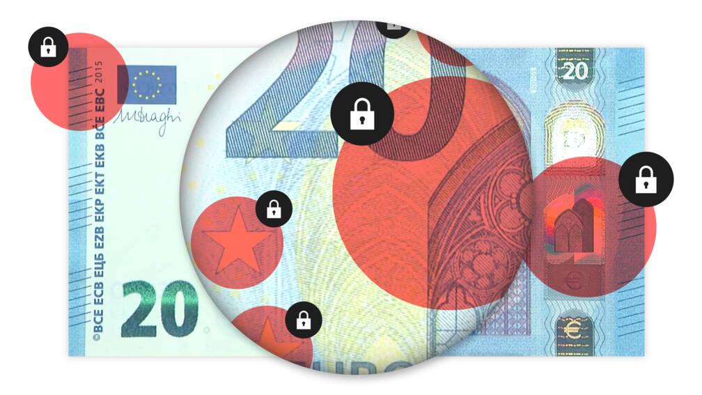 Zoek de verborgen beveiligingen in dit briefje van 20 euro