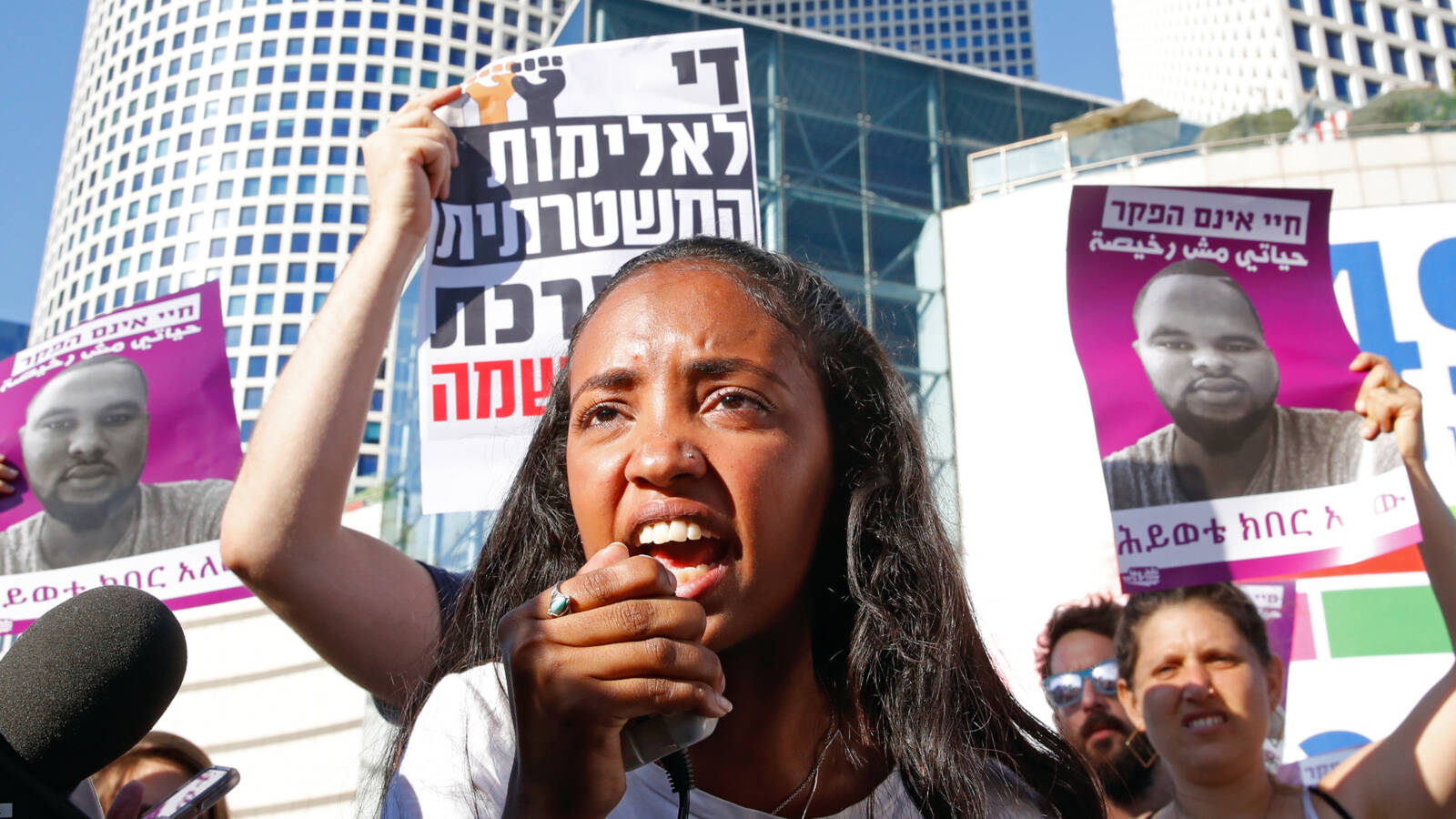 Protest against the killing of DSolomon Teka in Tel Aviv, AFP photo