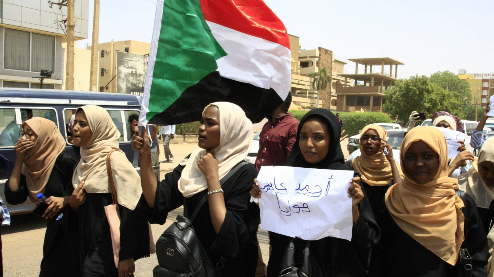 Sudanese schoolgirls demonstrate in Khartoum