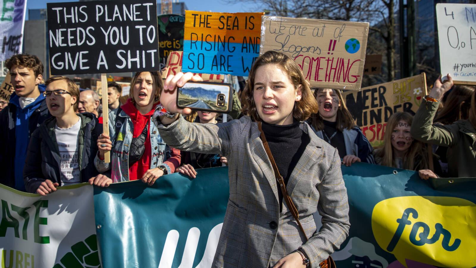 Anuna De Wever at Belgian pro-climate demonstration, AFP photo