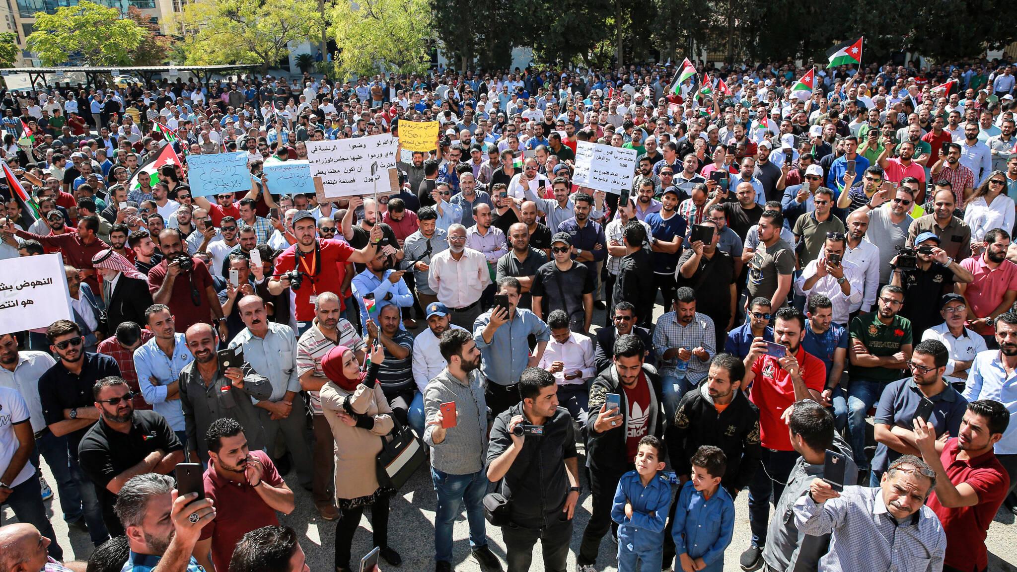 Striking teachers rally in Amman, Jordan, early October 2019, AFP photo