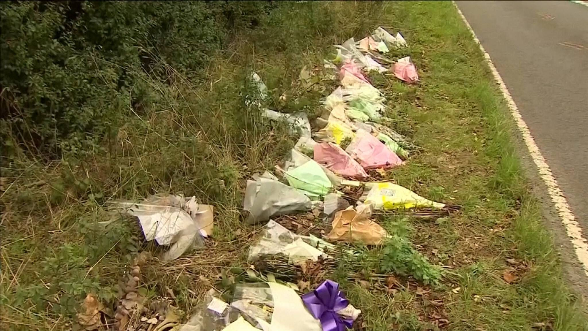 Flowers at the spot in England where a United States 'diplomat 'killed teenager Harry Dunn