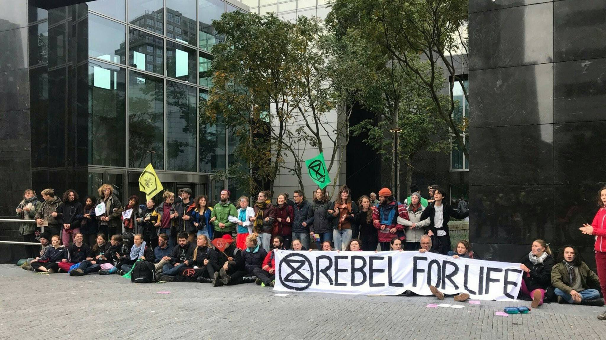Extinction Rebellion protesters at the ABN AMRO office in Amsterdam, the Netherlands