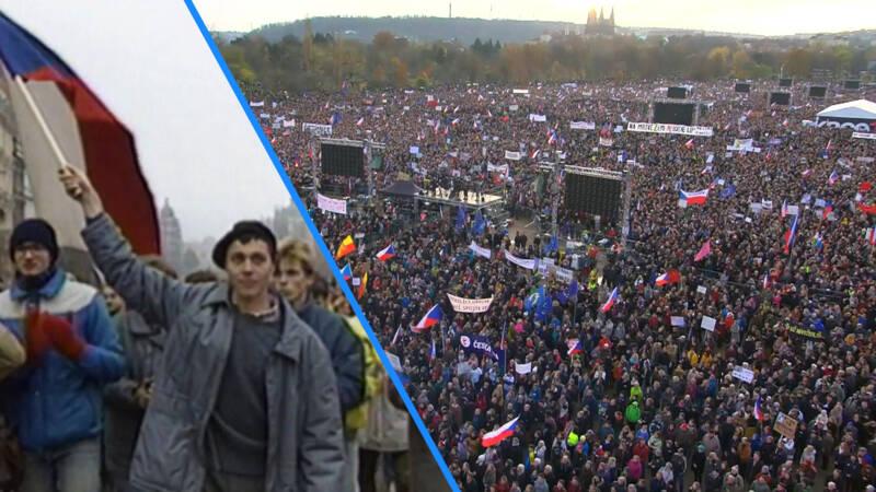 Honderdduizenden de straat op in Praag, 30