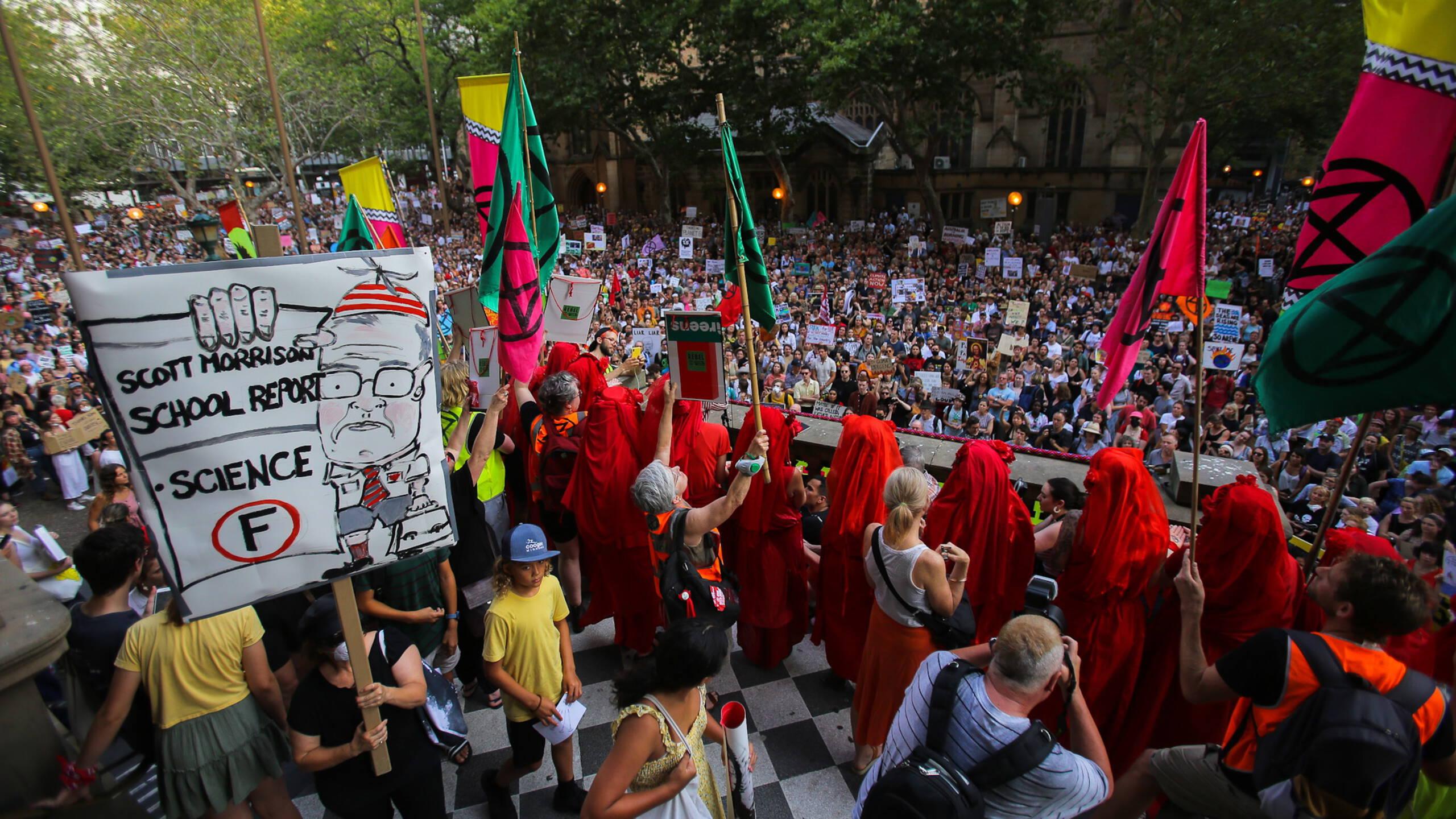 Anti-climate change demonstrators in Australia, EPA photo