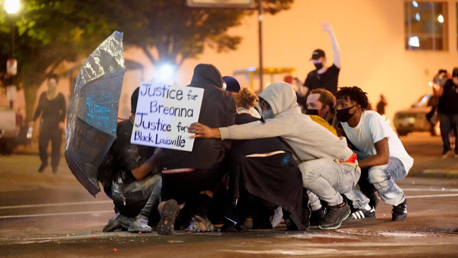 Demonstrators in Louisville, Kentucky, USA