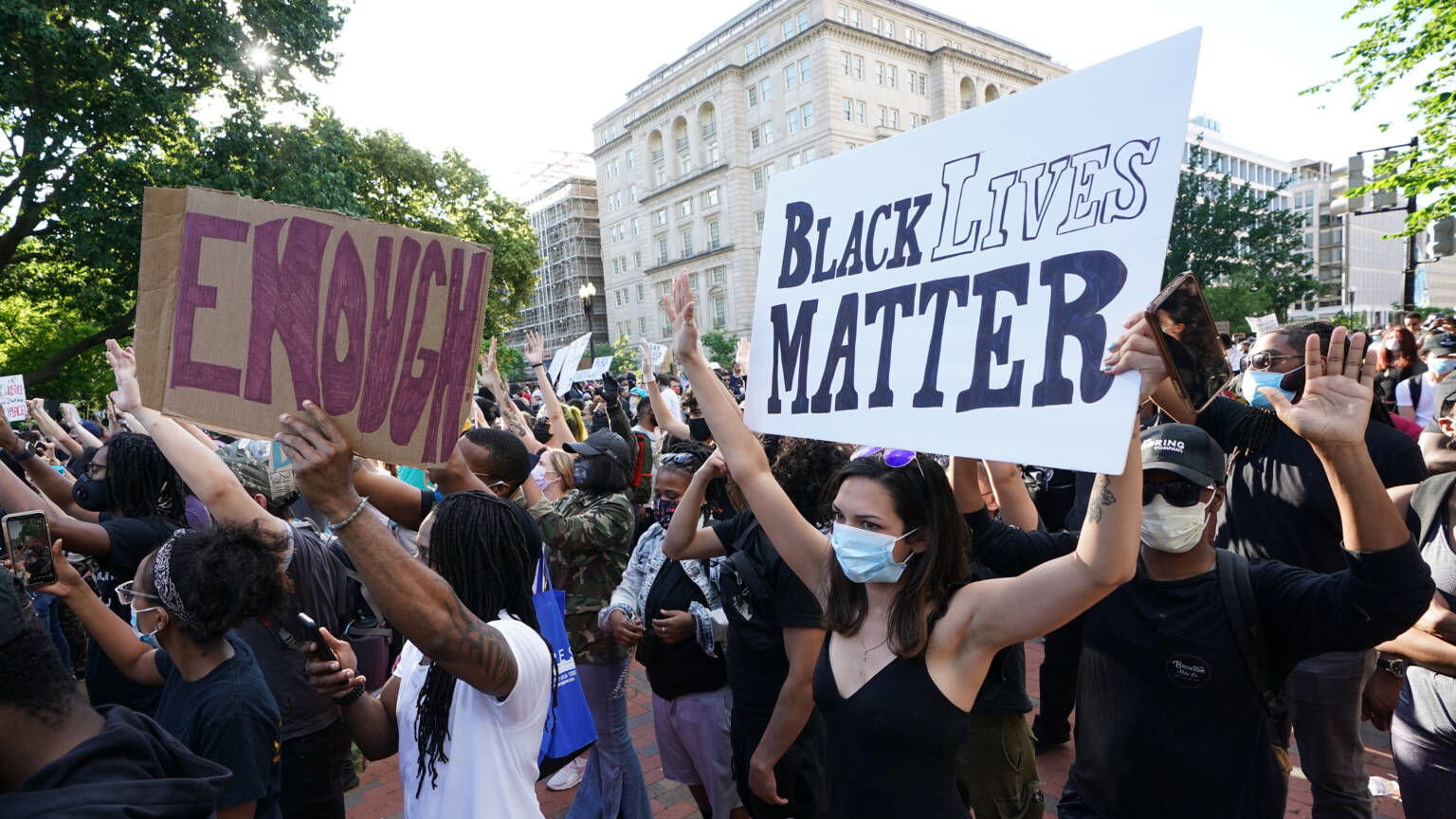 Anti-police brutality demonstrators near the White House in the USA, AFP photo