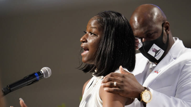 George Floyd's niece, Brooke Williams, at George Floyd's funeral in the USA, AP photo