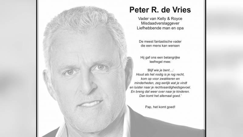Paginagrote advertenties voor Peter R. de Vries: 'Pap, het komt goed'